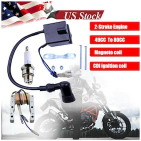 Ignition Coil Magneto For Motorized 80cc 66cc 49cc Engine Bicycle CDI Spark Plug
