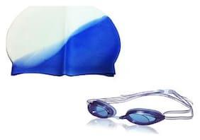 Imported Swim Cap With Swim Googles-Multi