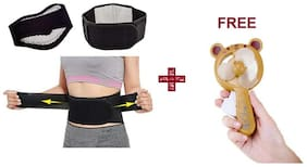 Importikaah Self Heating Waist Support Belt;Magnetic Therapy Lumbar Back Pain Reliever + Free Hello Kitty Personal Toy Fan