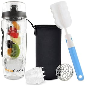 InstaCuppa Fruit Infusion Bottle 1 Litre - Rapid Weight Loss & Detox Infused Water Recipes eBook - BPA Free Tritan Infuser - Includes Hydro Gel Ball, Carry Sleeve, Protein Shaker Ball & Cleaning Brush
