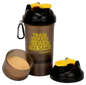 iShake Gym Shaker with Extra Powder Compartment - 500ml (Soot020_Yellow)