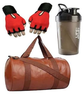 JMO27Deals Combo Set of Leather Bag 400 ML Shaker with weight Lifting Gloves Gym Fitness Kit...