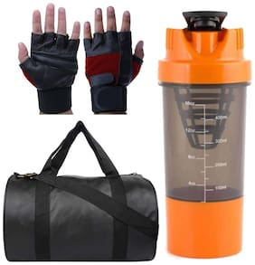 JMO27Deals Combo of Leatherite Gym Bag, Gloves and Gym Shaker& Fitness Kit