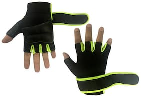 JMO27Deals Lycra Weight Lifting Palm Support Gym & Fitness Gloves Pack Of 2