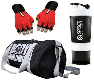 JMO27Deals Men's and Women's Polyester Sports Duffle Gym Bag with 2 Extra Compartment, Gloves and Spider Shaker Combo