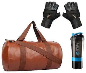 JMO27Deals Soft Leatherette Enclosed Tan Gym Bag with Shaker and Wrist Support Gloves Combo Set