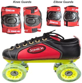 Jonex Professional Shoe Skate Combo With Knee And Elbow Guards And Free Skate Bag Size 5 Junior (24 cm) Age 12-13