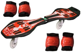 Jonex Waveboard/snakeboard Wheel With Led Flash Colourful Lights On Wheels And Protective Set Of 2 (Knee And Elbow Guards) With Free Waveboard Bag (Red) Skating Kit