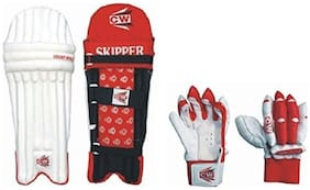 Junior Batting Combo CW Skipper Red Batting Thigh Pad Pair With Sherwood Red Batting Gloves (Ideal for 7-10 Years Child)