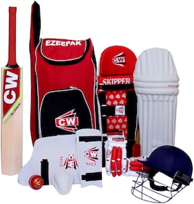 Junior Cricket World Storm 9 Item Red With Kashmir Willow Bat Complete Match Accessories Set Kit Size 4 Ideal For 7-8 Yr Kids/Child
