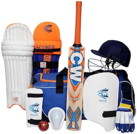 Junior SCOREMASTER Cricket Kit Size 6 Nine Sports Gears Accessories Set For 11-12 Yrs Between Players In Orange Blue Color Including (Kashmir Willow Bat)