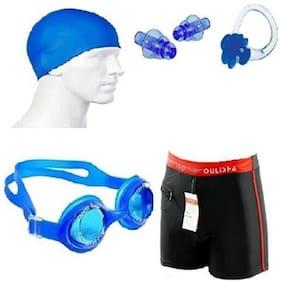Kamni Sports Swimming Kit (Silicon Cap, Silicon Ear Plug, Swimming Nose Clip, Swimming Goggles With Men Adult Swim Boxer Nylon Swimming Kit