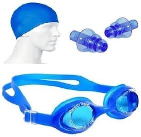 Kamni Sports Swimming Kit (Silicon Cap, Silicon Ear Plug, Swimming Goggles) Swimming Kit