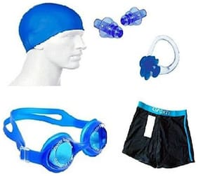 Kamni Sports Silicon Cap, Silicon Ear Plug, Swimming Nose Clip, Swimming Goggles With Men Adult Swim Boxer Nylon Swimming Kit