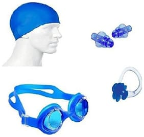 Kamni Sports Swimming Kit (Silicon Cap, Silicon Ear Plug, Swimming Nose Clip, Swimming Goggles) Swimming Kit