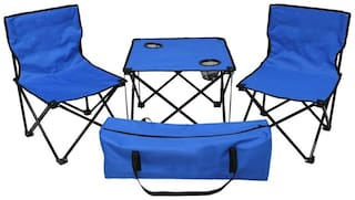 Kawachi Folding Camping Picnic Outdoor Garden Party BBQ Dining Coffee Kitchen Foldable Table and two Chair For Fishing-K357-Blue