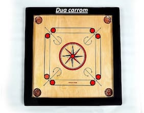 KiMi 20 * 20 inch Sports High Wood 8 mm Carrom Board Game With Coins Set+striker+powder 20 inch Carrom Board  (Brown)
