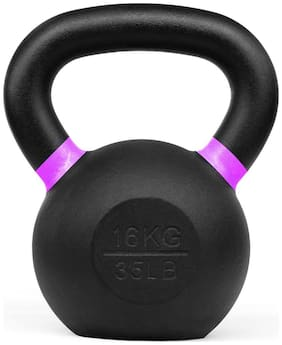 Kobo Cast Iron Kettlebells for Strength and Conditioning, Fitness, and Cross-Training - LB and KG Markings (16 Kg)