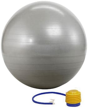 Kobo Gym Ball 65 Cm Foot Pump Anti Burst Silver Colour