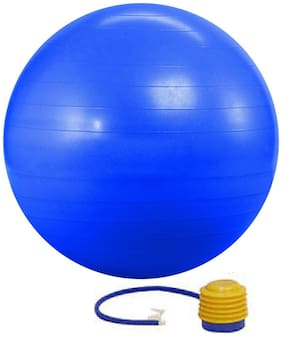 Kobo Gym Ball 55 Cm With Foot Pump Anti Burst Blue Colour