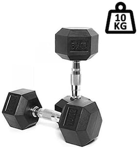 Kobo HEX-10-kg-PAIR IMPORTED HOME GYM EXERCISE (10 kg X 2 = 20 kg) CARDIO AEROBIC TRAINING FITNESS GRIPPY HEX RUBBER DUMBBELL (Pair)