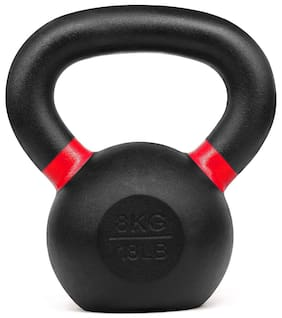 Kobo KB-CAST-IRON-8-KG Cast Iron Kettlebells for Strength and Conditioning;Fitness;and Cross-Training - LB and KG Markings (8 Kg)
