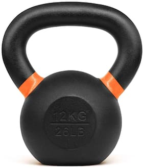 Kobo KB-CAST-IRON-12-KG Cast Iron Kettlebells for Strength and Conditioning;Fitness;and Cross-Training - LB and KG Markings (12 Kg)