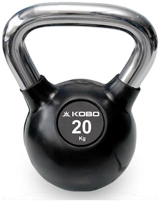 Kobo KB-RUBBER-20-KG 20 Kg Kettlebell Cast Iron Rubber Coated With Chrome Handle (IMPORTED)