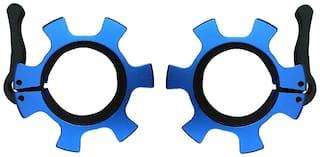 Kobo OC-1-PAIR ProLifting 50mm Quick Lock & Release 2 Aluminium Olympic Barbell Rod Collar;Set of 2 (Blue)