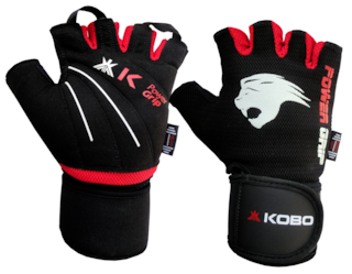 Kobo Weight Lifting Fitness Gym Glove With Wrist Support-Black And Red (Medium)