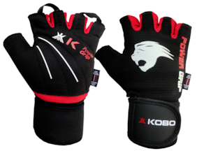 Kobo Weight Lifting Fitness Gym Glove With Wrist Support-Black And Red
