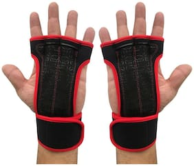 Kobo WTG-18 Red Professional Best Gymnastic Hand Grips / Cross Fitness Gloves for Pull Ups / Gym Gloves For Fitness / Functional Training Hand Protector