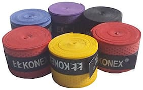 Konex Pack of 6 Multipurpose Badminton/Tennis/Squash Racket Super Tacky Touch Grip