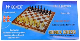 Konex Wooden Chess Board With 32 Pawns Coins - 13 inch