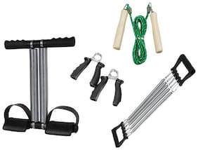 KONNEX GYM & FITNESS COMBO OF TUMMY TRIMMER +CHEST EXPANDER+SKIPPING ROPE+FOAM HAND GRIP FOR HOME GYM EXERCISE