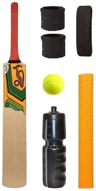 KOOKABURRA Max Power Sticker Popular Willow Cricket Bat (For Tennis Ball) Full Size Combo (Kit of 7 Items)