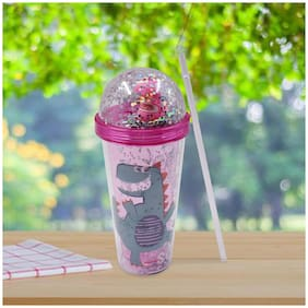 Kookee Acrylic Frosted Sipper with Straw, Glitter with Toy - 270ml (AP-045)
