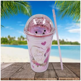 Kookee Acrylic Frosted Sipper with Straw Flamingo Print with Little Hearts Pink - 270ml