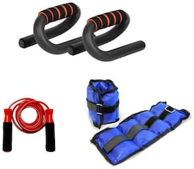 kyachaiyea Combo of Pushup Bar, 1Kg Ankle Weight Set and Skipping Rope Gym & Fitness Kit