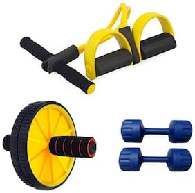 kyachaiyea combo of Tummy Trimmer, 1kg PVC Dumbbell Set, Ab Roller