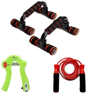 kyachaiyea Combo of Push Up Stand, Skipping Rope and Digital Hand Grip Gym & Fitness Kit