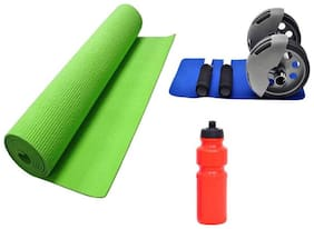 kyachaiyea Gym & Fitness Kit (Ab Roller, Yoga Mat and water sipper)