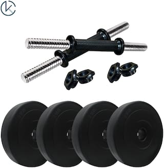 kyachaiyea home gym combo 2 kg x 4 plates made of pvc + 2 dumbell rods 14 inches best for home gym exercise