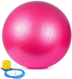 kyachaiyea pink gym ball for total body exercise with pump 75cm