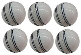 Labh Traders Cricket Leather Ball  (Pack of 6, White)