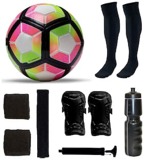 Laliga Yellow/Pink/Black Border Football (Size-5) with 5 Other items