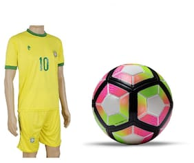 Laliga Yellow/Pink/Black Border Football (Size-5) with Suit (Jersey + Shorts)