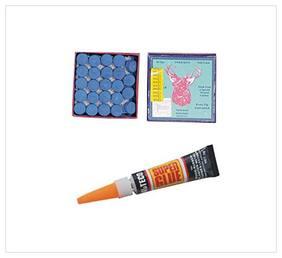 Laxmi Ganesh Billiard Combo of Elk Master Cue Tip (12MM) 50 Pcs+Cue Tip Glue Gel