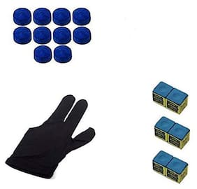 Laxmi Ganesh Billiard Snooker & Pool Combo;1 Piece Glove;6 Pieces Chalk and 10 Pieces Leather Cue Tip (9mm)
