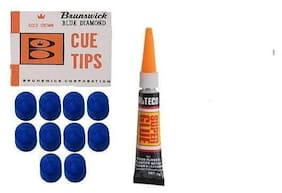 Laxmi Ganesh Billiard Combo of Snooker and Pool Brunswick CUE TIP 9 MM(10 pcs)+ CUE TIP Glue Gel